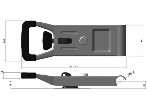 "31125 BS-Z – ""Opened"" Push Door Locking handle (standard base type) 311 series, suitable for use with Ø25 mm tube. Steel."