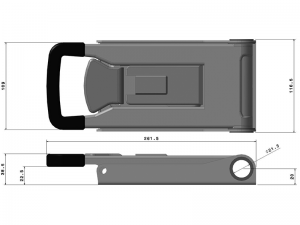 "32021 I – External ""Push"" Door Locking handle 320 series, suitable for use with Ø21,3 mm tube. Stainless steel."