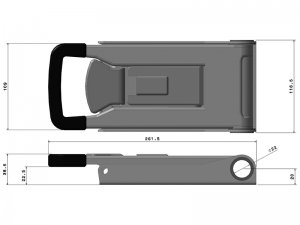 "32022 I – External ""Push"" Door Locking handle 320 series, suitable for use with Ø22 mm tube. Stainless steel."