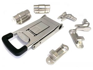 "3212702 I – External Door Locks 321 Series. Full external ""push"" door lock 321 series, suitable for use with Ø27 mm tube. Double tube clamp. Stainless steel."