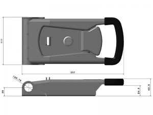 "33020 Z – External ""Push"" Door Locking handle 330 series, suitable for use with Ø20 mm tube. Steel."