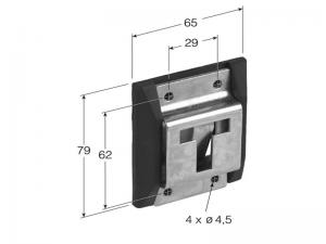 40201 I – Inmovilizador abatible con protección soporte de goma. Acero inoxidable.