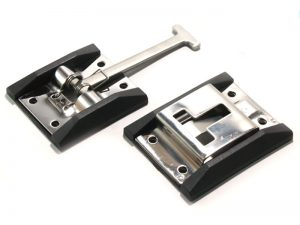 40201 I – Door holdback (hook & catch plate) with plastic enclosures. Stainless steel.