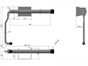 40402 Z – Inmovilizador de brazo modelo semiremolque corto. Acero.