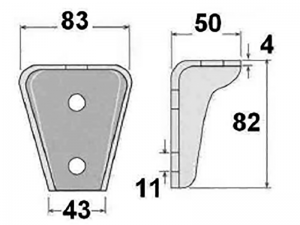 62302 – Medium body mounting chassis bracket. Steel.