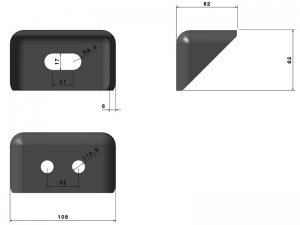 62303 – Big body mounting chassis bracket. Steel.