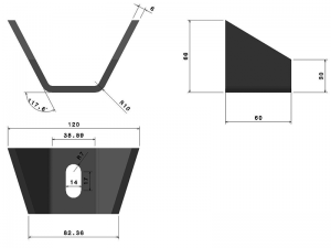 "62407 –  ""V"" Body mounting chassis bracket. Steel."