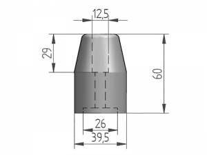 64004 – Conical Rubber buffer of Ø39 mm.